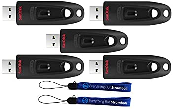 SanDisk Ultra USB  5 Pack  3.0 128GB CZ48 Flash Drive High Performance Jump Drive/Thumb Drive/Pen Drive up to 100MB/s - with  2  Everything But Stromboli  tm  Lanyard
