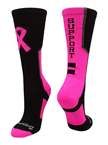 MadSportsStuff Breast Cancer Awareness Support Crew Socks (Black/Neon Pink/Graphite, Small)
