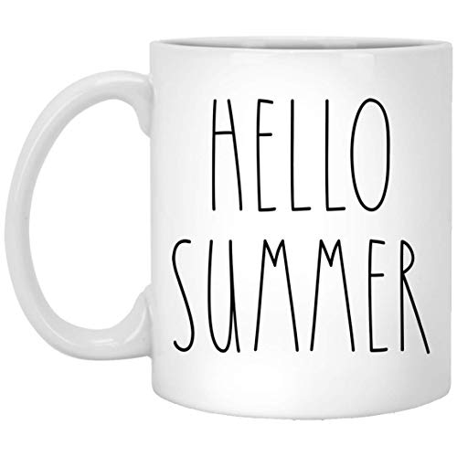 Hello Summer Coffee Mug - Hello Summer Mug - Custom Coffee Mug Personalized Text Rae Dunn Style - Birthday - Family - Merry Christmas - Mother's Day - Father's Day Coffee Cup 11oz