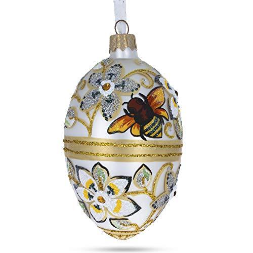 BestPysanky Bee On Flowers Glass Egg Ornament