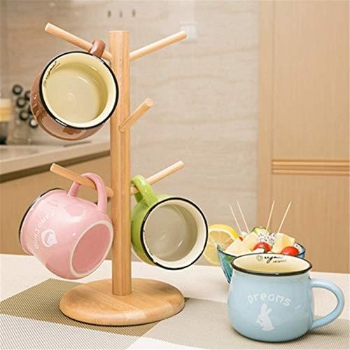 PPuujia Soporte de taza de café 1 Unidades forma de árbol de madera de café taza de almacenamiento soporte para el hogar cocina taza colgante estante de exhibición con 6 ganchos