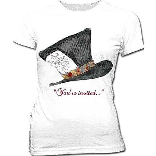"""Paradigm Designs T-shirt blanc junior, motif chapelier fou d'Alice au pays des merveilles, avec inscription en anglais """"You're invited"""" - Blanc - Medi"""
