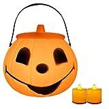 Kakoop 1 unids luces de calabaza de Halloween para niños portátiles linternas de calabaza decoración de Halloween accesorios de juguete para niños, Halloween, adornos de Navidad