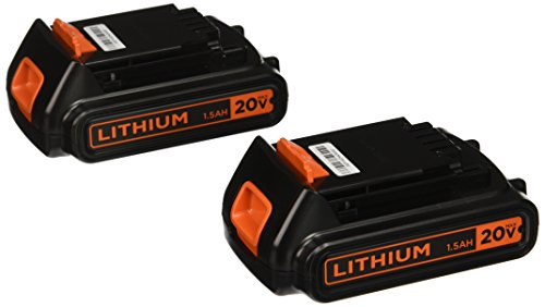 BLACK+DECKER 20V MAX Lithium Battery 1.3 Amp Hour, 2-Pack (LBXR20B-2)