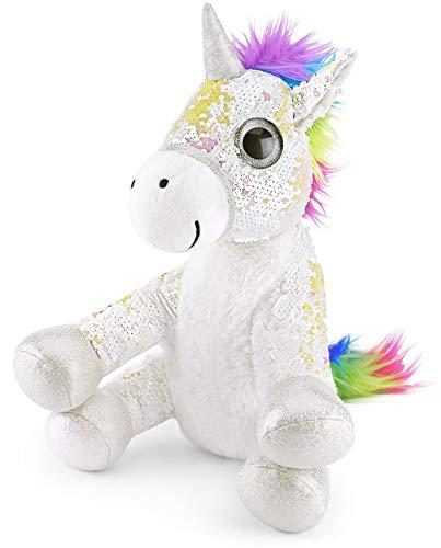 Mousehouse Gifts - Unicornio de peluche con lentejuelas - Blanco - 29cm