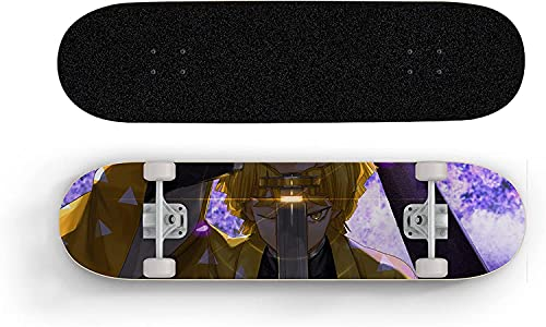 Anime Skateboard para demonio Slayer Agatsuma Zenitsu Golden, Mini Cruiser, Skateboard de cubierta de arce de 7 capas, rodamiento de carga 100 kg, scooter de calle de caminos para principiantes