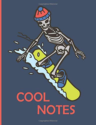 Cool Notes: Snowboard Skeleton Lined Notebook 8.5 x 11 for Boys