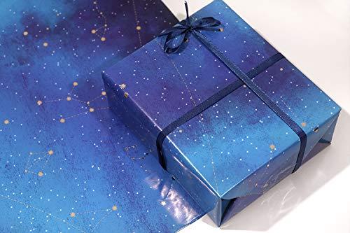 Geschenkpapier, 3 bronzierende Geschenkpapier, gefaltet, Unisex, für Jungen und Mädchen, Damen, 50 x 70 cm