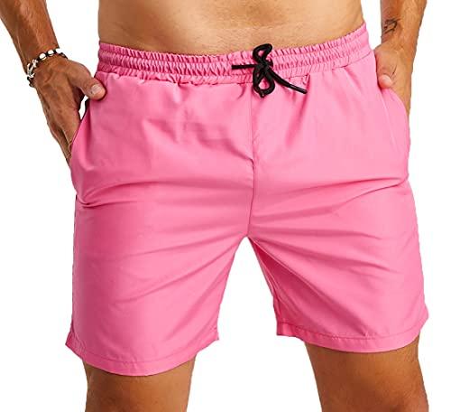 Björn Swensen Badeshorts Herren Sommer Badehosen Schwimmhose Schwimmshorts Beachshorts Strand Männer Swim Shorts Kurze Hosen BS9001 Pink Small