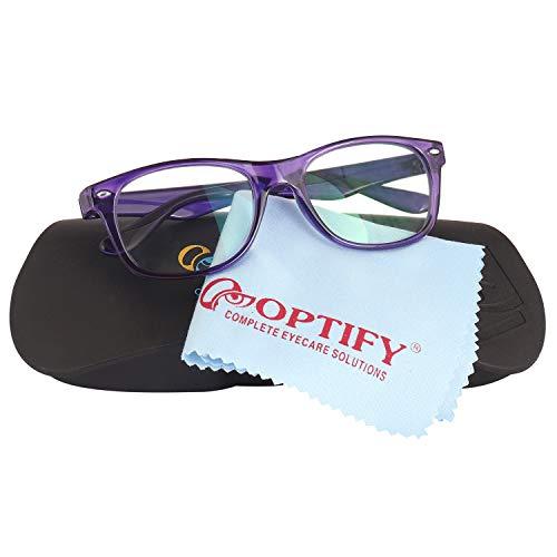 Optify® Blue Light Blocking Glasses for Kid Wayfare UV Protection Computer Eyewear Zero Power Lens Age 5-12 Years(Purple)