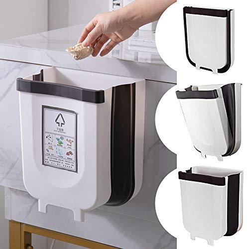 Shackcom Cubos de Basura Plegable Colgante para la Cocina, Bote de Basura Colgante Basurero Extraible, Cubo de Basura Colgando para Dormitorio Coche Oficina Baño - 9L - Blanco