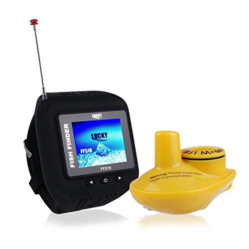 ActionEliters Portable Fish Finder, Contour Readout Handheld Fishfinder Depth readout with Sonar Sensor Transducer and LCD Display 5 Modes Sensitivity Options Fish Depth Finder (Black2)