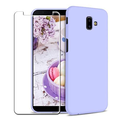 Funda Samsung Galaxy J6 Plus (2018) + Protector de Pantalla de Vidrio Templado, Carcasa Ultra Fino Suave Flexible Silicona Colores del Caramelo Protectora Caso Anti-rasguños Back Case - Morado Claro