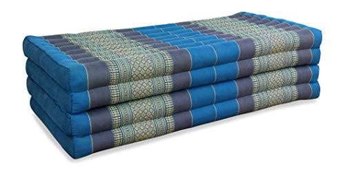 livasia Klappmatratze extrabreit (195cm x 110cm) aus Kapok, Faltbare Gästematratze, klappbare Matratze, asiatische Faltmatratze (hellblau)