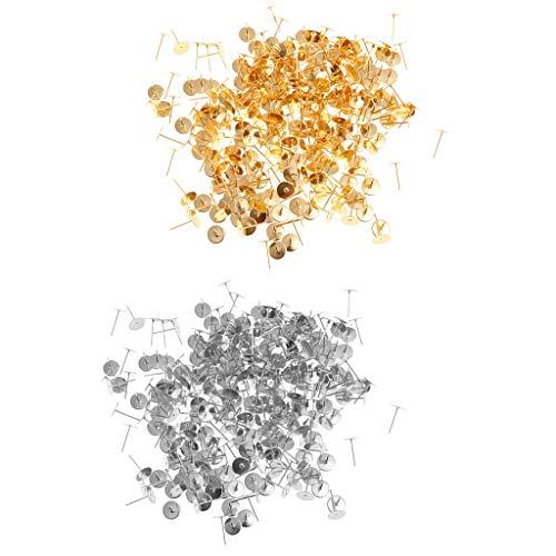 oshhni Paquete de 600 Pendientes de Botón, Pendientes de Botón de Oro Color Plata