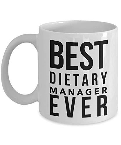 Taza de café divertida Dozili – Regalos de gerente dietético – La mejor taza de la historia, ideas de regalo de agradecimiento, 11 onzas, color blanco