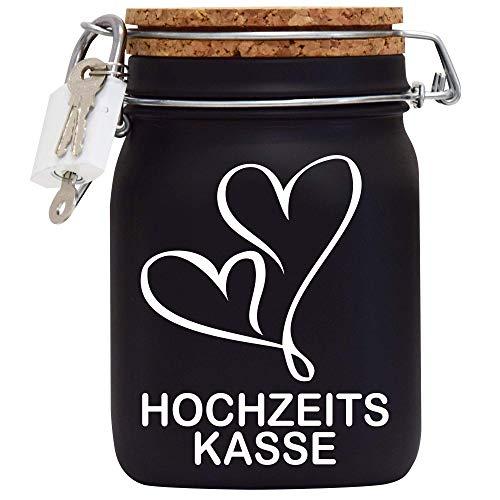 Hochzeits-Heirats-Kasse XXL-Spardose mit Vorhängeschloss in Weiss/Geld-Geschenk/mit Korkdeckel und Sparschlitz