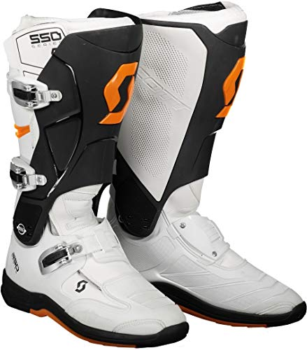 Scott 550 MX Motocross Supermoto Motorrad Stiefel weiß/orange 2020: Größe: 46