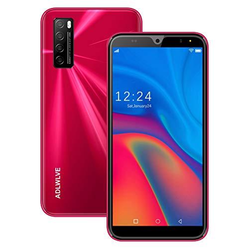 Moviles Libres Baratos 4G,6.3Pulgadas 3GB RAM 32GB ROM / 64GB Smartphone Libre Android 9.0 Face ID teléfonos móviles gratuitos, 8MP 4600mAh,Dual SIM Quad Core Moviles Buenos (Rojo)