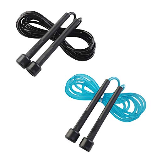 Happylohas Springseil für Erwachsene & Kinder – Verstellbare Größe – Speed Rope (Schwarz Rot)