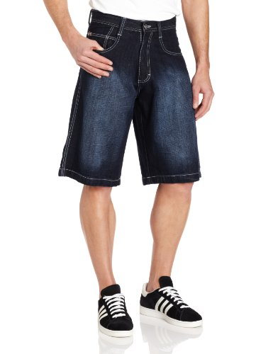 Southpole Men's Big-Tall 4180 Sand Washed Denim Short In Relaxed Fit, Dark Sand Blue, 50