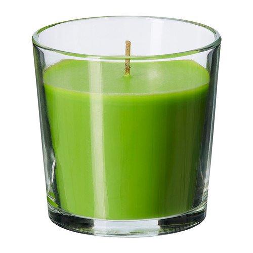 IKEA SINNLIG - Geurkaars in glas, Crisp appel, groen - 7,5 cm