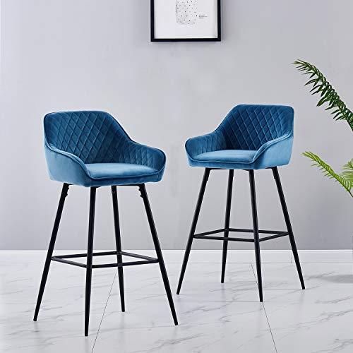 JYMTOM Barhocker 2er Set Barstuhl Küchenstühle mit Rückenlehne, Fußstütze, Armlehnen Metall Tresenhocker,Blau