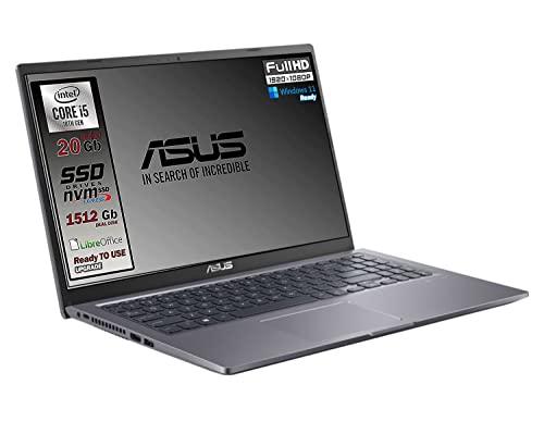 Asus Vivobook SLIM, SSD M.2 da 512 Gb + 1TB, Cpu Intel i5 di 10th GEN. 4 Core, 20Gb DDR4, Display da 15,6 FULL HD, wi-fi, 4 Usb, Bt, Sk Video Intel UHd 620, Win 10 pro, Pronto All uso Gar. Italia
