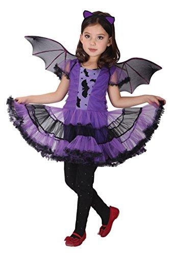 EOZY-Disfraz Halloween para Niñas 3 a 12 Años,Disfaces de Murciélago Vestido y Accesorios Chicas para Halloween Carnaval Fiesta Cosplay