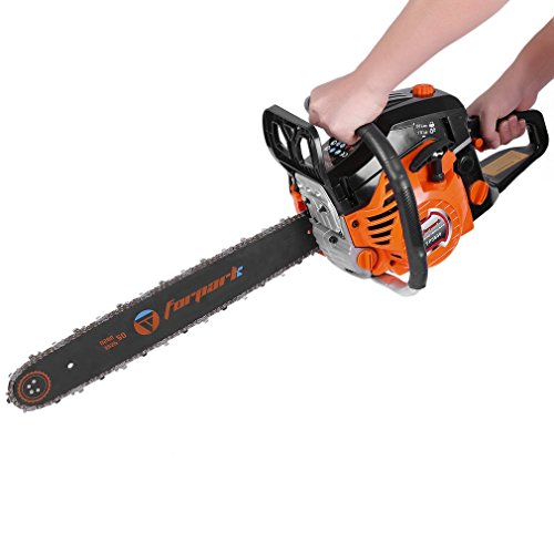 Barryblue Gas Chainsaw 2 Cycle 20' Chain Saw Double Spring for Tree Pruning Garden Farm (58CC-Orange Black 1)