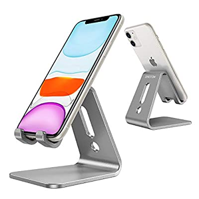 OMOTON Desktop Cell Phone Stand [Updated Solid Version], Advanced 4mm Thickness Aluminum Stand Holder for Switch, Mobile Phone, iPhone 11 Pro Xs Max Xr, Grey by OMOTON