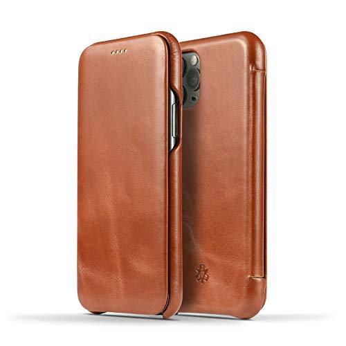 NOVADA Custodia in Vera Pelle per iPhone 11 PRO Max - Ultra Sottile Folio Flip Cover - Marrone