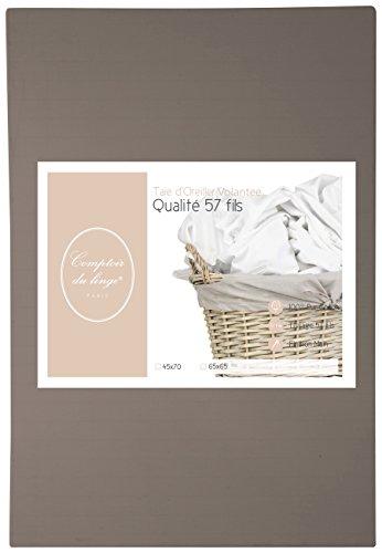 Comptoir du Linge TO3765V Lot de 2 Taies d'oreiller unies Coton Taupe 65 x 65 cm