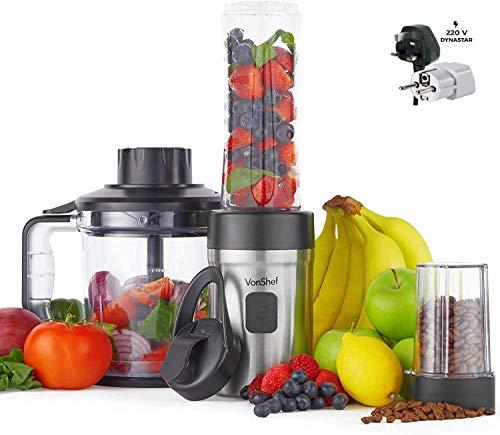VonShef 220 Volts 3 in 1 Food Blender – 500W Fitness Blender, Smoothie Maker, Food Processor, Grinder Bundle With Dynastar Plug Adapter | 220-240 Volts (NOT FOR USA)