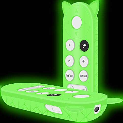Silicone Protective Case Holder for New Google Chromecast Remote Control,[Full Protection ] Cute Cat Shape Shock Absorption Bumper Google Voice Remote Back Covers Case Protector Sleeve-Glowgreen
