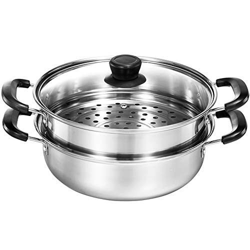 Yamde 2 Piece Stainless Steel Stack and Steam Pot Set - and Lid,Steamer Saucepot double boiler