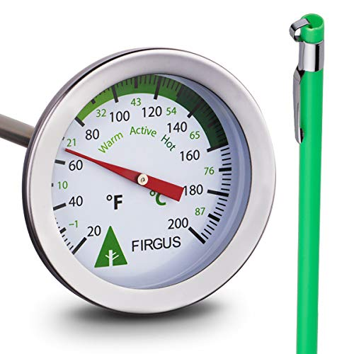 Firgus Compost Thermometer with 20 Inch Soil Probe for Backyard Composting Stainless Steel 2 Inch Diameter Temperature Gauge and Bonus Stem Protector