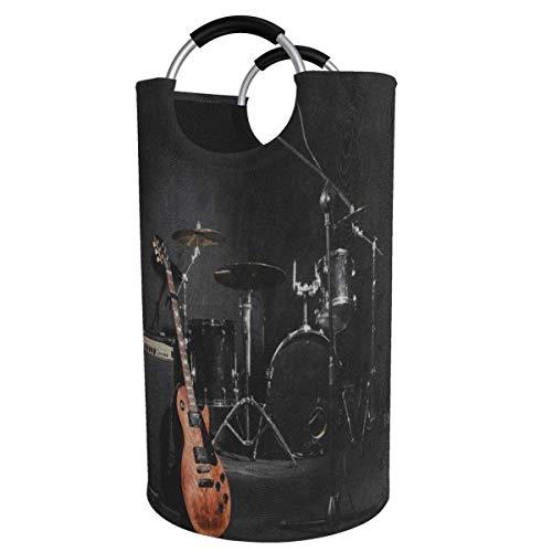 Instrumentos musicales Conjunto de batería de guitarra Cesta de lavandería grande negra Árbol de guitarra con nota musical Dormitorio plegable