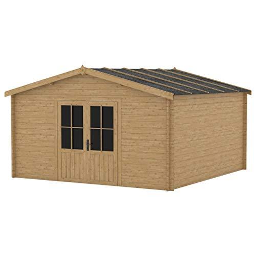 vidaXL Holz Blockhaus ohne Fenster mit 2 Türen Gartenhaus Holzhaus Gerätehaus Schuppen Gartenhütte Holzhütte Geräteschuppen 400x400cm 28mm