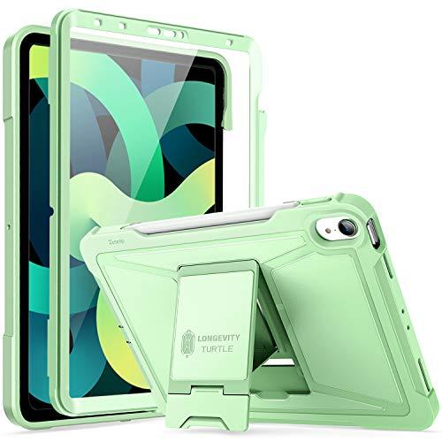ZtotopCase Hülle für Neu iPad Air 4 10.9 2020,Eingebaut Screen Protector,Dual Schicht Stoßfest Voll Schützend Abdeckung mit Ständer und Bleistifthalter für iPad Air 4.Generation,Grün