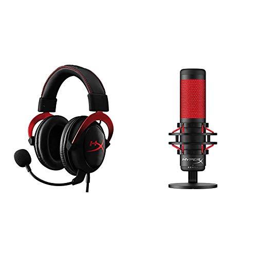 HyperX Kingston Cloud II Gaming Kopfhörer (für PC/PS4/Mac) rot + QuadCast Standalone-Mikrofon mit umfangreichen Funktionen für Streamer Gamer