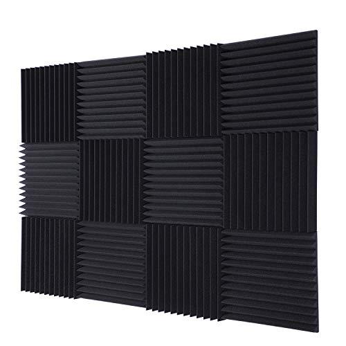 TRUE NORTH paneles de espuma acústica (12 unidades) - Paneles acústicos, acolchado a prueba de sonido, paneles de espuma a prueba de sonido, panel de espuma insonorización, espuma de estudio, espuma insonorizada, panel acústico, espuma de sonido