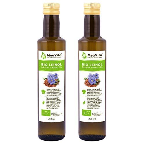 MeaVita Bio Leinöl, 100% rein & kaltgepresst, 2er Pack (2x 250ml) in Glasflasche