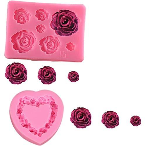 YANGYOU Silicone 3D Heart Rose Shaped Fondant Mold Embossed Love Garland Mould for Wedding Valentine's Day Rose Cake Decoration Moldcake Chocolate Desser DIY Baking Mold