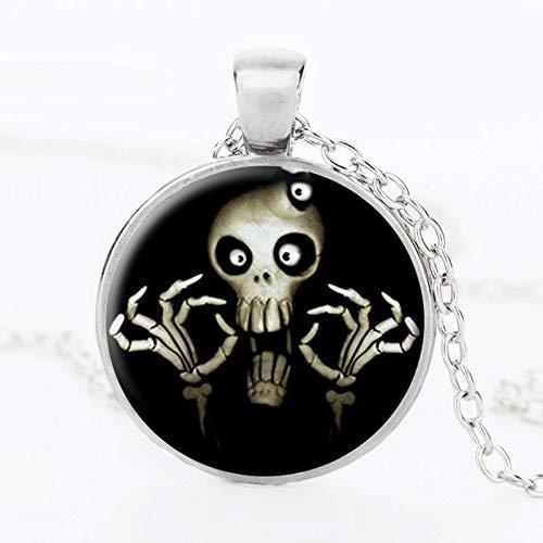Collar de cristal de cráneo de moda esqueleto negro blanco arte cuadro colgante de cristal collares hechos a mano joyería de Halloween