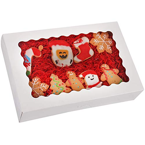 20-Pack Bakery Boxes with Window, 12 x 8 x 2.5, Large White Cookie Boxes, Auto-Popup Treat Boxes for Pies, Cakes, Muffins, Donuts and Pastries