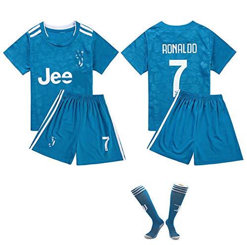 CHSC # 7 Ronaldo Fußballuniform Trikot CR7 Trikotset Jersey,Outfit Kinder Kurzarm Shorts Socken Trainingsbekleidung Wettbewerb Fan-Ausgabenweste 1 Set blue-24