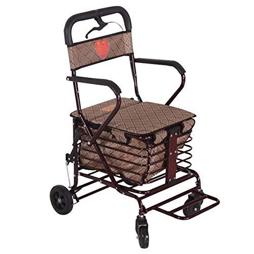 SXRL Rollator Faltbar und Leicht Gehwagen, Aluminium Reiserollator für Senioren mit Handbremse und 360 ° Vorderrad