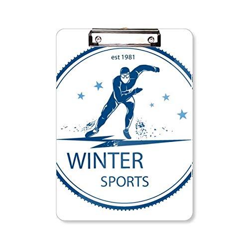 Winter Sport ski pak en laarzen patroon klembord map schrijven pad achterplaat A4