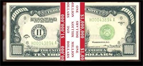 100 Count Banded  10,000.00 Bills -  1,000,000.00 by American Art Classics